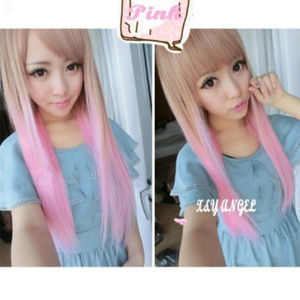 Two tone long straight pink & brown wig